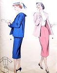 1950s Sailor Collar Suit Pattern Butterick 7260  Slim Skirt Box Jacket Breezy Nautical Sailor Collar  Bust 34 Vintage Sewing Pattern UNCUT
