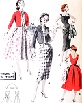 1950s ROCKABILLY Bombshell Dress and Jacket Pattern BUTTERICK 8090 Sheath Slim or Full Skirt V Back Bust 36 Vintage Sewing Pattern
