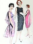1950s ELEGANT Evening Sheath Dress Pattern BUTTERICK 8781 Flowing Panel  Loose or Attached or Dramatic Sheer Over Dress Stunning Cocktail Party Dress Bust 34 Quick n Easy Vintage Sewing Pattern