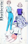 1950s FAB Weekend Wear Pattern BUTTERICK 8986 High Rise Ultra Slim Tapered Pants, Shorts, Bateau Neck Sleeveless Crop Top or Balloon Sleeve Blouse, Full Skirt and Cummerbund Bust 34 Vintage Sewing Pattern