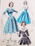 1950s BEAUTIFUL Dress Pattern BUTTERICK 8084 Full Skirt Princess Dress Day or Evening Styles Empire Surplice Bodice Three Style Versions Bust 34 Quick n Easy Vintage Sewing Pattern