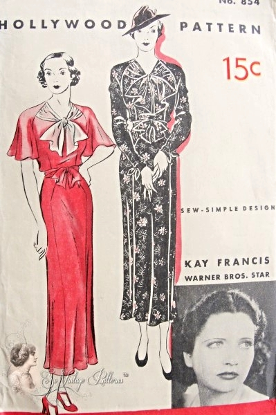 1930s Beautiful Art Deco Dress Pattern Sew Simple Frock, Cape or ...