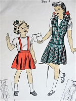 1940s Vintage CHARMING Toddlers Child's Skirt with or without Suspenders and Jerkin Du Barry 5565 Childrens Sewing Pattern Chest 23