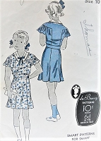 1930s Vintage PRETTY Girls Dress with Collar DuBarry 936 Sewing Pattern Chest 28