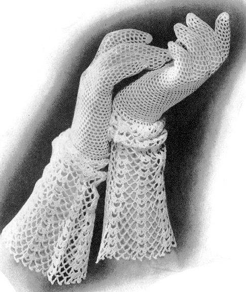 1930s Crocheted Lace Cuff Gloves Crochet Pattern Instant Pdf Pattern