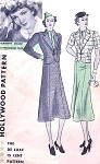 1930s Stylish SUIT Pattern HOLLYWOOD 1305 Featuring Starlet Claudette Colbert Short Fitted Jacket 6 Gored Lower Flared Skirt  Bust 36 Vintage Sewing Pattern