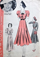 1930s LOVELY Dress Pattern HOLLYWOOD 1438 Three Beautiful Versions Day or Party Features Ruby Keeler Warner Bros Movie Star Bust 32 Vintage Sewing Pattern