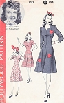 1940s Princess Dress Pattern HOLLYWOOD 1077 Features Starlet Frances Gifford Heart Appliques,Sweetheart Neckline Bust 36 Vintage Sewing Pattern