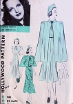 1930s Lovely Dress and Cape Coat Pattern Hollywood 1387 Featuring Movie Starlet Rochelle Hudson Beautiful Feminine Day or Evening Dress, Cape In 2 Lengths Bust 32 Vintage Sewing Pattern