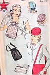 1940s Hats and Bags Pattern HOLLYWOOD 1433 Vintage Sewing Pattern Two Hats and Purse Styles War Time WW II Era  One Size