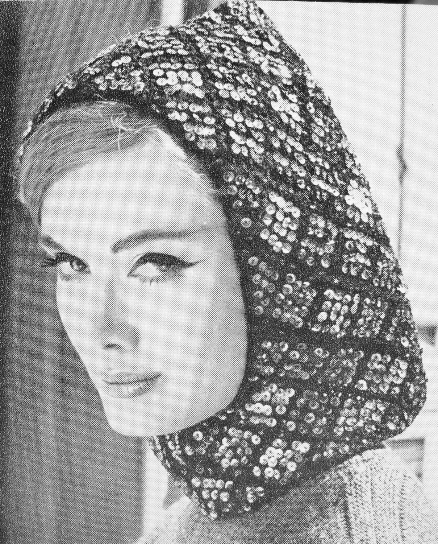 Instant Download Pdf 1960 Vintage Knit Pattern Flirty Sequin Hood Hat Pattern Fun 60s Ski Resort Fashion Pattern