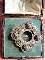 BEAUTIFUL Antique Scottish Sterling Silver and Granite Stones Brooch,Outlander Scottish Jewelry, Victorian Jewelry,Antique Scottish Brooch