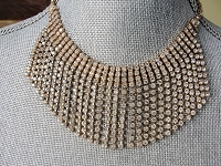 SPECTACULAR Fringed Bib Necklace,White Sparkling Rhinestones,Prong Set,Quality Evening Necklace,Vintage Statement,Collectible Jewelry