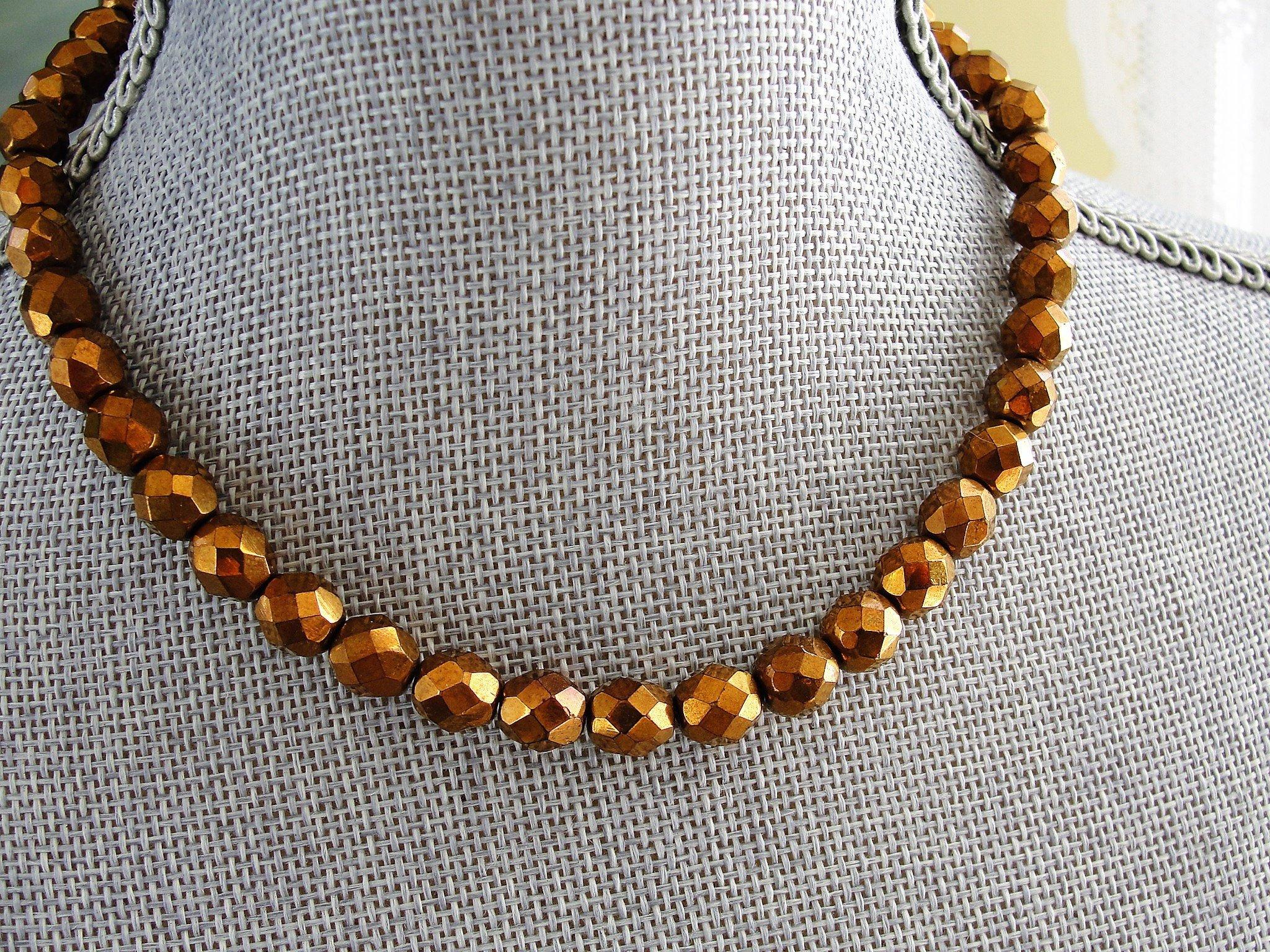 0d4eb0ca4 Vintage GLITTERING Copper Bronze Color CZECH Glass Necklace ...