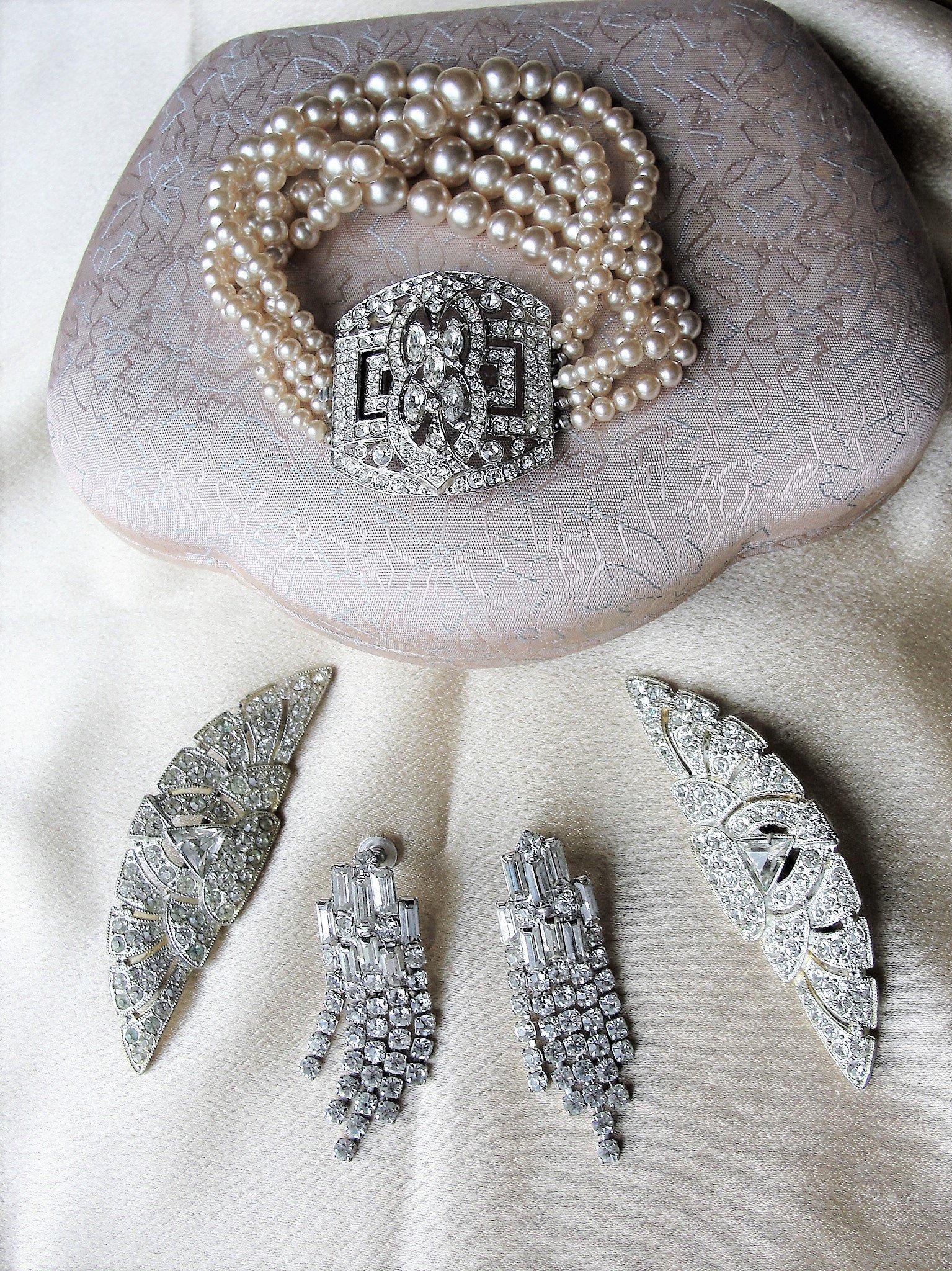 b2c2dd7a15 ANTIQUE Coro Art Deco Bracelet Rhinestones and Lustrous Pearls,Rhinestone  Vintage Jewelry,Designer Vintage Wedding Jewelry,Bridal Jewellery