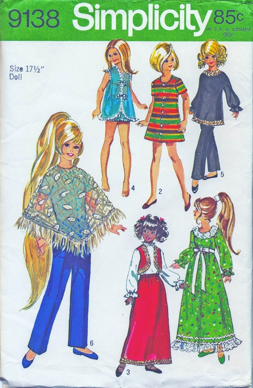 1970 Doll Clothes Wardrobe Pattern Simplicity 9138 Vintage Sewing ...
