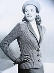 INSTANT PDF PATTERN Film Noir 1940s Vintage Knit Pattern Knitted Tailored Fitted Jacket Blazer Lauren Bacall Style Knitting Pattern