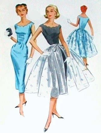 1950s evening cocktail dress pattern scalloped neckline