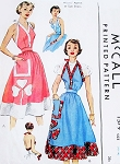 1950 FAB Marilyn Monroe Style Halter Top Sun Dress or Apron Pattern McCALL 1579 Figure Flattering Style Includes 3 Leaf Clover Applique Size Small Vintage Sewing Pattern