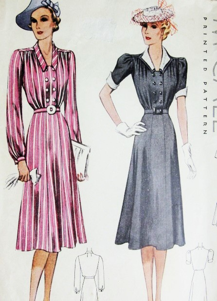 Copy Stylish 1930/'s Dress with Contrasting Trim and Collar Knitting Pattern