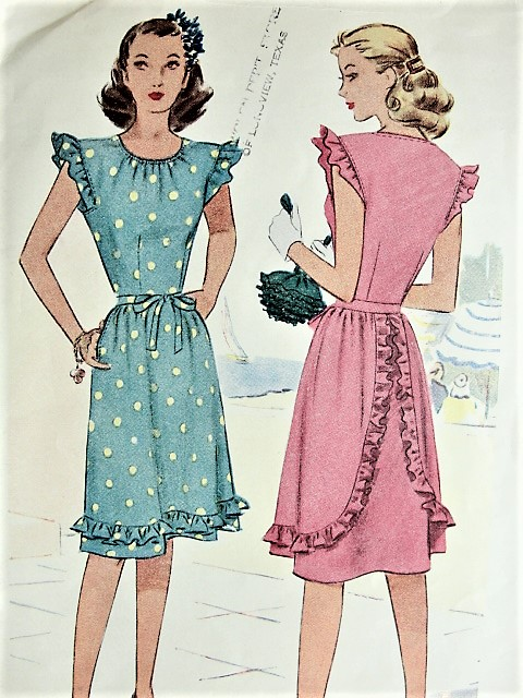 1940s CUTE Summer Dress Pattern McCALL 6397 Sweet Forties Style Bust ...