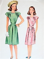 1940s Vintage CHIC Dress with Cinched Waist McCall 6510 Sewing Pattern Bust 25