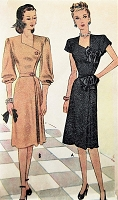 1940s STUNNING Cocktail Party Dress Pattern McCALL 6565 Side Button Unique Neckline Evening Dinner Dress Bust 30 Vintage Sewing Pattern