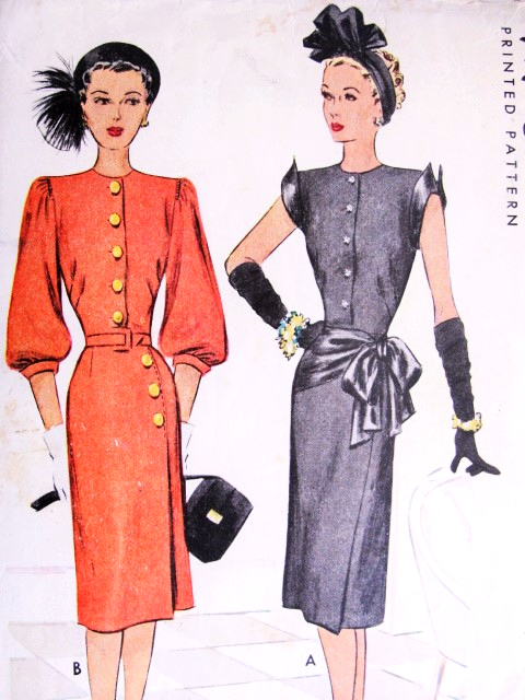 1940s Film Noir Style Daytime Or Evening Dress Pattern