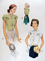 1940s BEAUTIFUL Blouse Pattern McCALL 6952 Two Lovely Flattering Blouse Styles Bust 38 Vintage Sewing Pattern