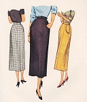 1940s Stylish Slim Skirt Pattern McCall 7897 Four panel Skirt Waist 28 Vintage Sewing Pattern