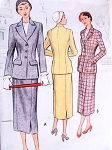 1950 STYLISH Suit Pattern McCALL 7973 Fitted Longer Jacket Pencil Slim Skirt Bust 32 Vintage Sewing Pattern