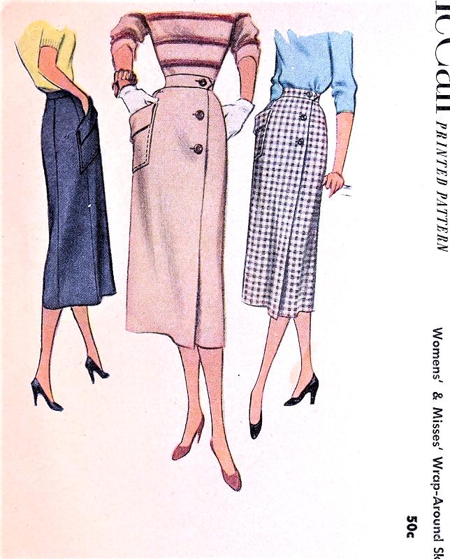 1950s Stylish Slim Wrap Around Skirt Pattern Mccall 8443