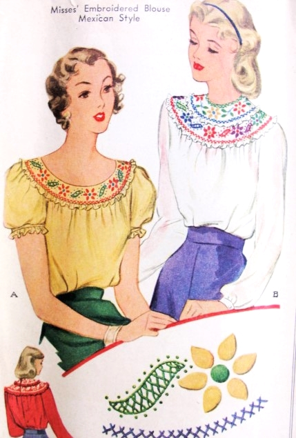 f13e37c8e00 1940s Peasant Mexican Style Blouse Pattern McCall 1137 War Time WW ...