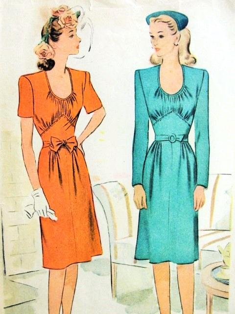 1940s Lovely Dress Pattern Mccall 5773 Low U Shape