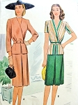 1940s Stylish Two Piece Suit Dress Pattern McCall 6035 Surplice Peplum Jacket  Front Inverted Pleat Skirt WW II Era  Bust 32 Vintage Sewing Pattern