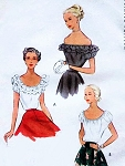 1940s Romantic Blouse Pattern McCall 7638 Scoop Neck or Off the Shoulder with Optional Ruffles Peasant Blouse 3 Bohemian Style Versions Vintage Sewing Pattern Bust 34