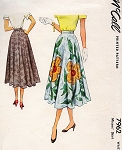 1950s PRETTY Circle Skirt Pattern McCALL 7962 EASY to Sew Waist 23 Vintage Sewing Pattern