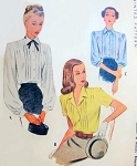 1940s LOVELY Blouse Pattern McCall 6558 Forties Pin Tuck Front Blouse 3 Style Versions Bust 32 Vintage Sewing Pattern