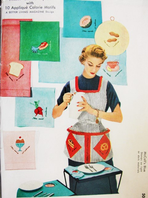 Vintage ;McCalls 1957 Apron Pattern with Chef Hat And Embroidery Transfer 1956