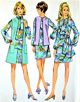 1960s MOD Dress,Sleeveless Coat or Jacket and Scarf Pattern McCALLS 2238 Lovely Balloon Sleeves,Three Looks Bust 34 Vintage Sewing Pattern FACTORY FOLDED