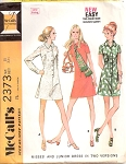 70s RETRO Dress Pattern McCalls 2373 Vintage Sewing Pattern 2 Style Versions UNCUT Bust 30 FACTORY FOLDED