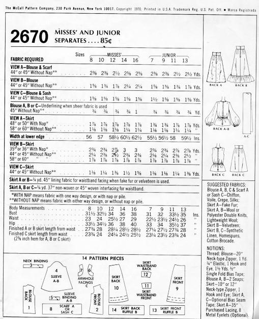 1970s ROMANTIC Bohemian Style Separates Pattern McCALLS 2670 Mini or ...