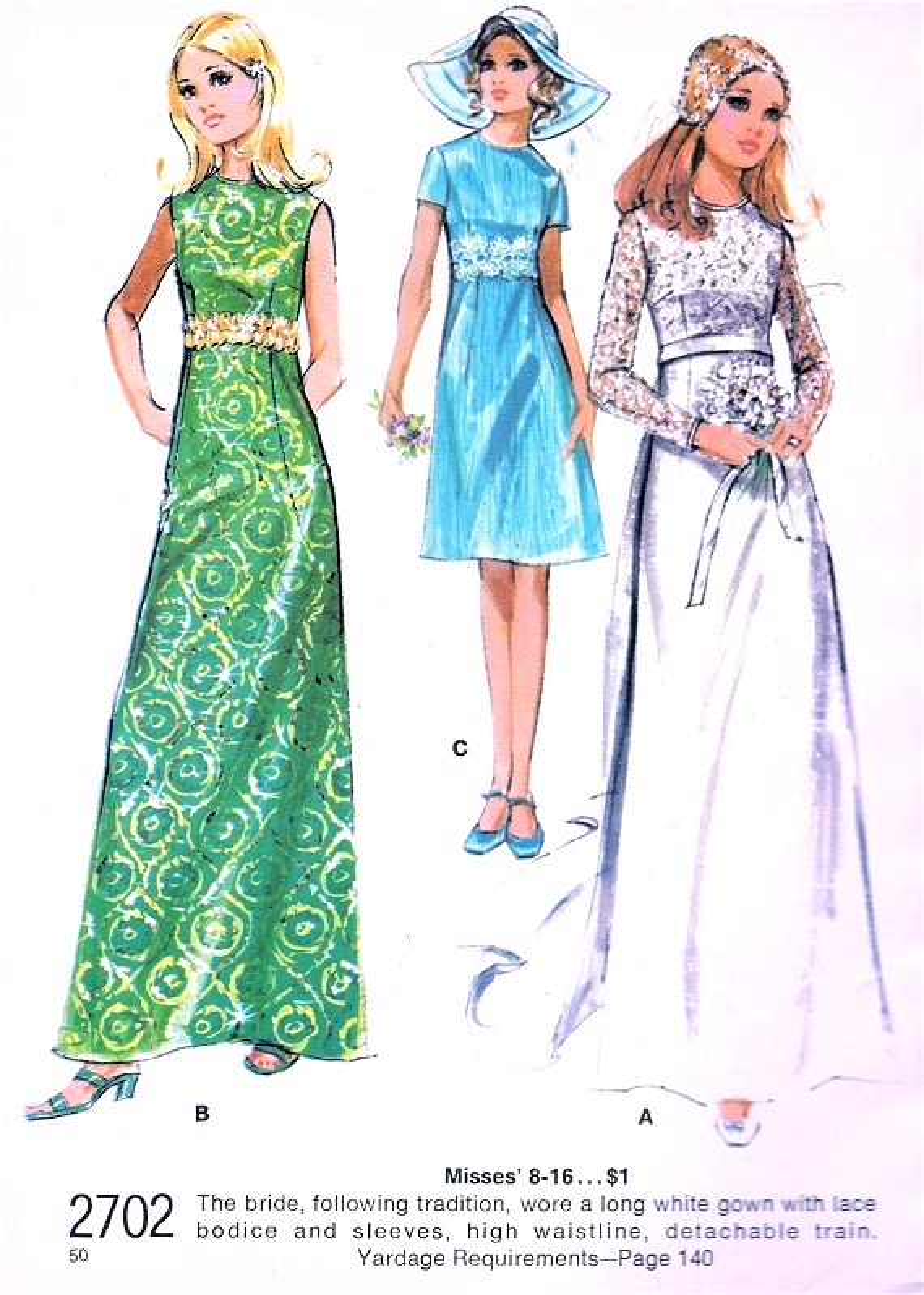 1970s Romantic Wedding Gown Bridal Dress Pattern Mccalls
