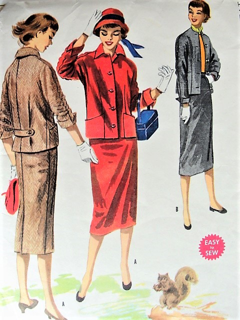 1950s EASY To Sew Slim Skirt Suit Pattern McCALLS 3403 Casual Design Bust  34 Vintage Sewing Pattern