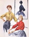 1950s Fab Casual Blouse Pattern McCALLS 3450 Dolman Sleeves Wing or High Collar Bust 32 Vintage Sewing Pattern