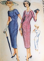 1950s BOMBSHELL Sheath Dress Pattern McCALLS 4548 Slim Easy To Sew Dress, Neckline Trim Option, Bust 38 Vintage Sewing Pattern