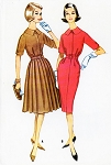 1960s Classic Slim or Pleated Skirt Dress McCALLS 5542 Lovely Details Day or Dinner Dress Bust 32 Vintage Sewing Pattern