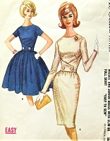 1960s CLASSY Slim or Full Skirt Dress Pattern McCALLS 6473 Wrap Waist Design Bust 34 Easy To Sew Vintage Sewing Pattern