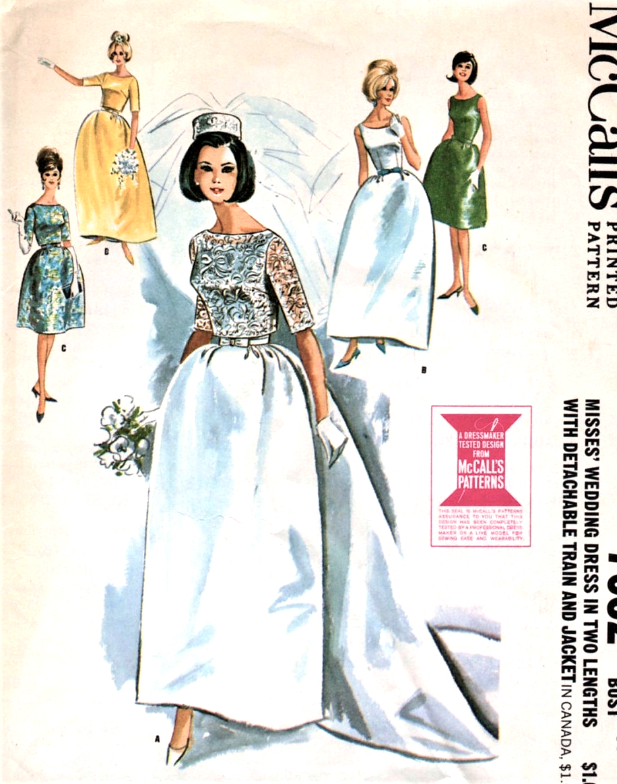 1960s DREAMY Wedding Dress Bridal Gown Pattern McCALLS 7082 ...