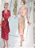 1950s STUNNING Cocktail Party Evening Dress Pattern McCALLS 8550 Sweetheart Neckline Lovely Front Cross Over Draping Bust 34 Vintage Sewing Pattern